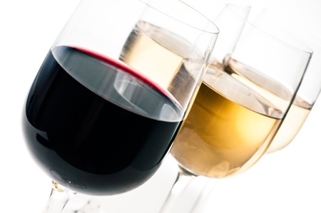 winetasting: Wine-tasting, a few glasses of red and white wine close-up on a white background, isolated