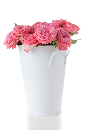 Flowers of pink roses with buds in a vase on a white background, isolated photo