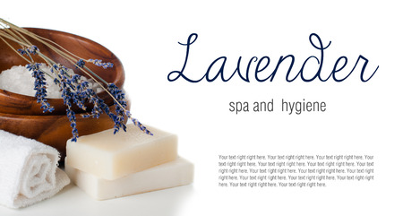 Products for bath, SPA, wellness and hygiene: natural soap, lavender, sea salt, candles and a towel, close-up, isolated photo
