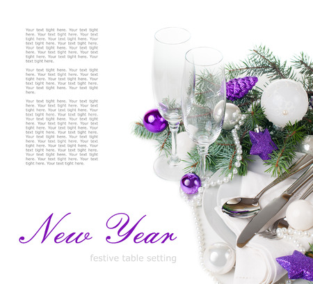 christmas menu: Festive Christmas table setting, table decoration in purple tones, with fir branches, Christmas balls on a white background, isolated