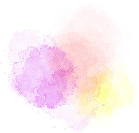 分離した白い背景にさまざまな色の水彩絵の具の明るいスポット 写真素材