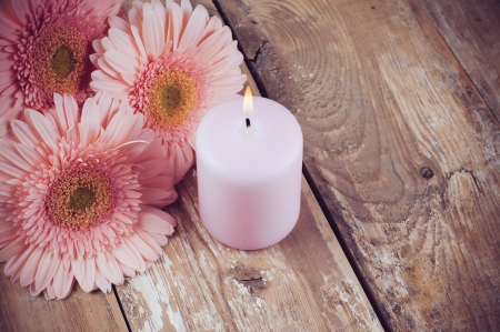 closeup of pink daisy with: Bouquet of pink gerberas and a candle on a wooden board, vintage style, close-up Stock Photo