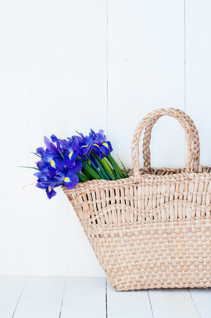Vintage wicker basket with spring violet flowers on a white background wooden board, closeup photo