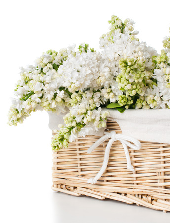 Fresh spring bouquet of white lilac flowers in a wicker basket, home decor in a rustic style, studio isolated on a white background photo