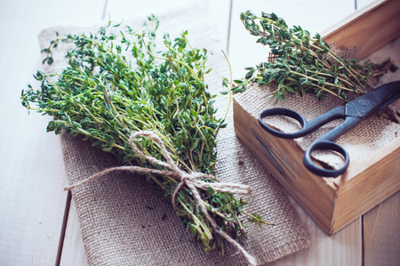 dried herbs: Rustic home kitchen still life, dried herbs, old boxes and vintage scissors on a wooden table. Stock Photo