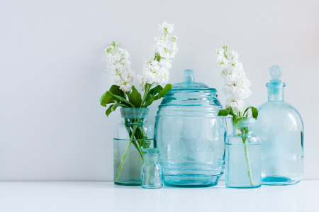 Vintage Home Decor Background White Matthiola Flowers In Different