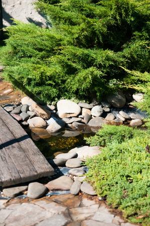 Alpine garden, a bridge across the creek and green plants, the European landscape design photo