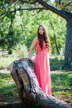 fairy woman: Pretty young girl in a pink dress with long hair posing in the park near the tree, forest fairy