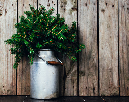 Winter arrangement, spruce branches in vintage can on a wooden board photo