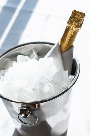 Luxurious holiday composition, a bottle of chilled champagne in an ice bucket and napkin closeup in a daylight photo