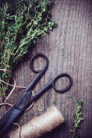 antique scissors: Vintage still life, timo erba, forbici antichi e spaghi su una vecchia tavola di legno.