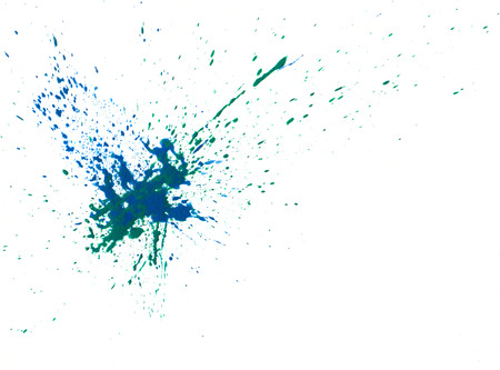 paintbrush spray: Green and blue watercolor paint splash on white background isolated