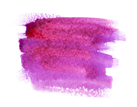 white wash: Pink and purple watercolor paint stain on white background isolated