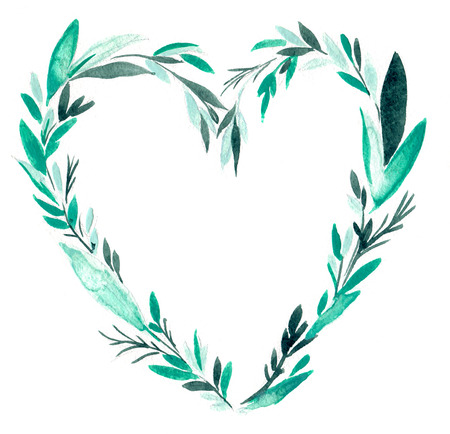 heart shaped leaves: Watercolor ornament, heart shaped wreath of  leaves on a white background isolated Stock Photo