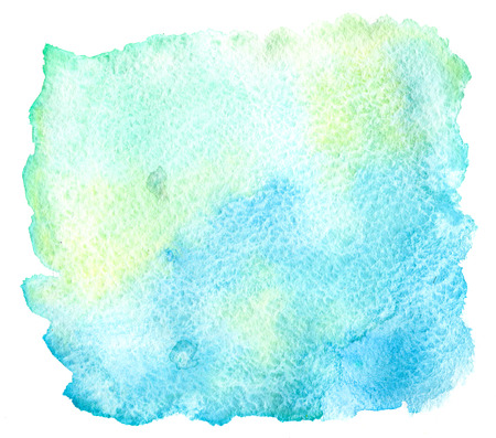 Blue, green and yellow watercolor paint stain on white background isolated