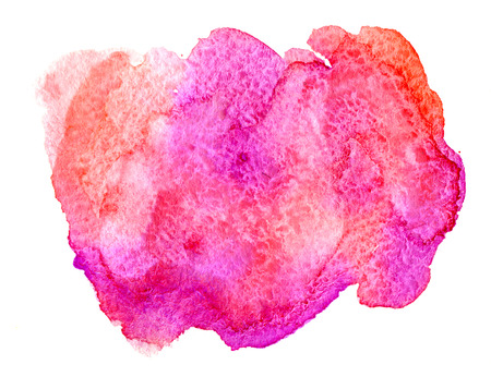 Pink and coral watercolor paint stain on white background isolated Stock Photo