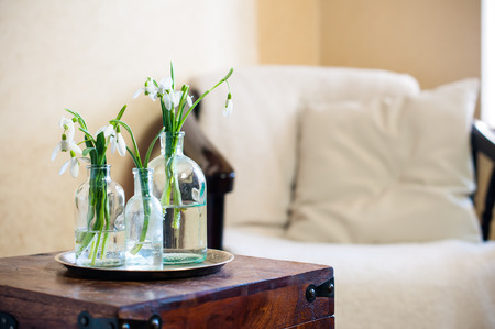 Spring flowers snowdrops in glass bottles, home interior, vintage chair with a pillow