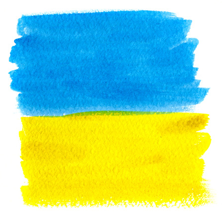 ukrainian flag: Abstract background, blue and yellow watercolor stains on paper texture isolated, Ukrainian flag symbol