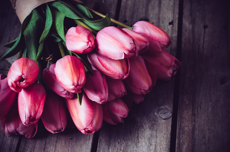 pink tulips: Bunch of fresh spring pink tulips on old vintage wooden board, copy space