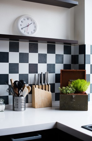 Kitchen utensils, decor and kitchenware in the modern kitchen interior close-up Stock Photo