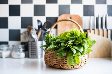 salad greens: Wicker basket with fresh greens, basil, arugula and spinach on the table in the interior of a modern home kitchen.