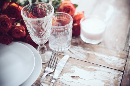 Stock Photo - Vintage table setting with glasses and cutlery on an old wooden board wedding table decor & Vintage Table Setting With Glasses And Cutlery On An Old Wooden ...