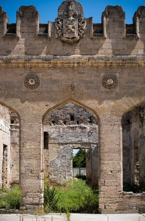 Detail Of The Facade Ancient Ruined Castle European Architecture Photo