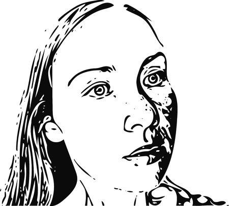 visage profil: Portrait d'une femme dans le style de la bande dessinée, croquis noir et blanc illustration vectorielle Illustration