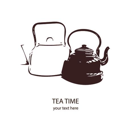 kettles: Dos viejos hervidores de época con copia espacio, ilustración vectorial