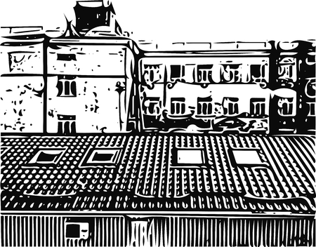 perspectiva ciudad: Cityscape sketch, old buildings and roofs, casual city view vector illustration