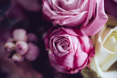 暗い背景、ソフト フォーカス、クローズ アップにピンクと白のバラのエレガントなブーケ。ロマンチックなヒップスターの背景。ビンテージ フィ