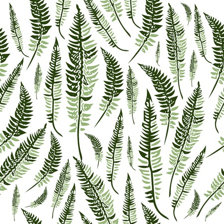 fern leaf: Seamless pattern with green fern leaves