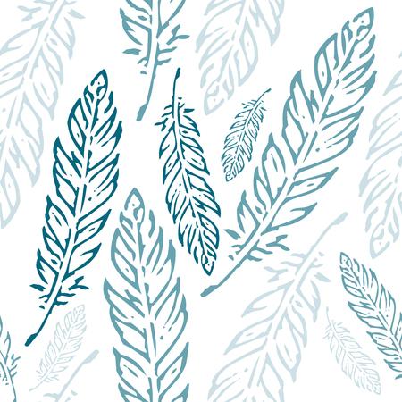 パステル ブルー、ティールの羽の白い背景で隔離のシームレスなパターン  イラスト・ベクター素材