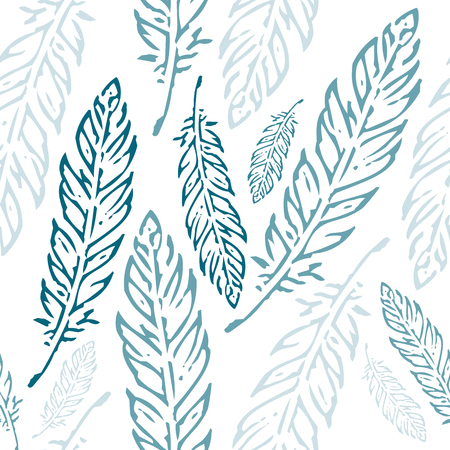 Pastel blue and teal feathers seamless pattern isolated on white background Ilustracja