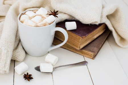 Cozy winter home background, cup of hot cocoa with marshmallow, old vintage books and warm knitted sweater on white painted wooden board background. Standard-Bild