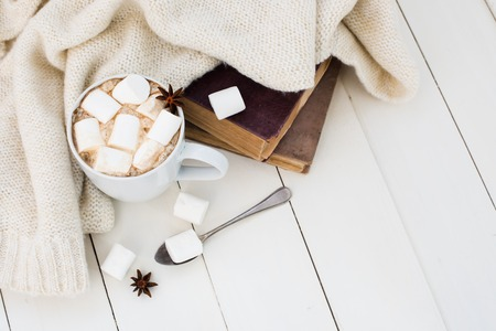 Cozy winter home background, cup of hot cocoa with marshmallow, old vintage books and warm knitted sweater on white painted wooden board background. Zdjęcie Seryjne