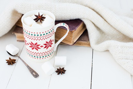 Cozy winter home background, cup of hot cocoa with marshmallow and star anise, old vintage books and warm knitted sweater on white painted wooden board background. Stock fotó - 46881936
