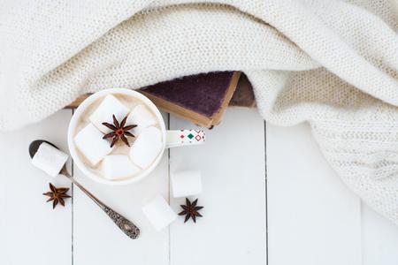 De comfortabele achtergrond van het de winterhuis, kop van hete cacao met heemst en steranijsplant, oude uitstekende boeken en warme gebreide sweater op witte geschilderde houten raadsachtergrond.