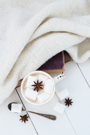 wools: Cozy winter home background, cup of hot cocoa with marshmallow and star anise, old vintage books and warm knitted sweater on white painted wooden board background.