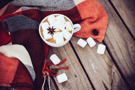 Big cup of hot cocoa with marshmallow and star anise and warm plaid on an old vintage wooden board background. Cozy autumn arrangement.