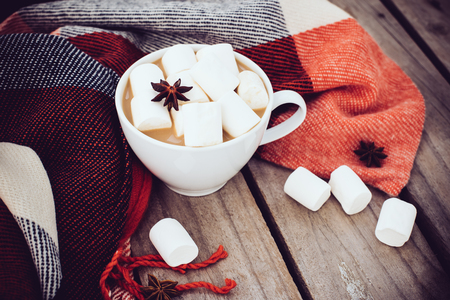 fleece: Big cup of hot cocoa with marshmallow and star anise and warm plaid on an old vintage wooden board background. Cozy autumn arrangement.