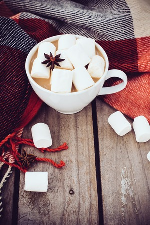 autumn arrangement: Big cup of hot cocoa with marshmallow and star anise and warm plaid on an old vintage wooden board background. Cozy autumn arrangement.