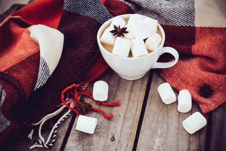 food still: Big cup of hot cocoa with marshmallow and star anise and warm plaid on an old vintage wooden board background. Cozy autumn arrangement.