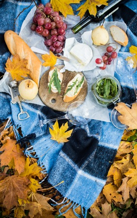 picnic blanket: A cozy autumn picnic in the park: fresh bread and cheese, fruit and wine on warm plaid in yellow autumn leaves. Food for dinner outdoors.