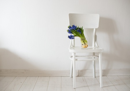 country house style: Spring flowers, blue hyacinth in a vase on a white vintage chair in white room interior. Stock Photo
