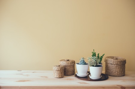 Cozy vintage home decoration: green plants and decorative wicker boxes on a table by the wall background.