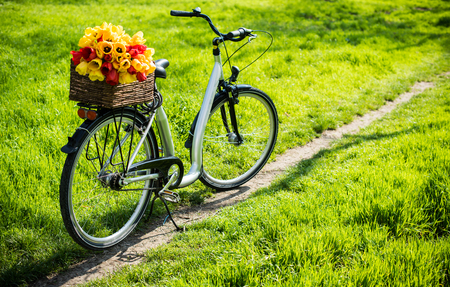 decorated bike: City bicycle with a wicker basket and spring flowers  stands on a footpath in a park Stock Photo