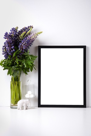 empty office: Modern home decor with frame and interior objects, design ready poster mock-up