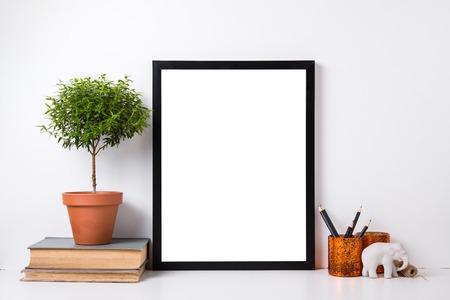 Современный домашний декор с рамкой и предметов интерьера, дизайн готовый плакат макет