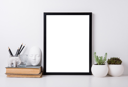 modern frame: Modern home decor with frame and interior objects, design ready poster mock-up